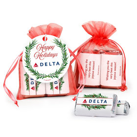 Personalized Happy Holidays Snowflakes Hershey's Miniatures in Organza Bags with Gift Tag