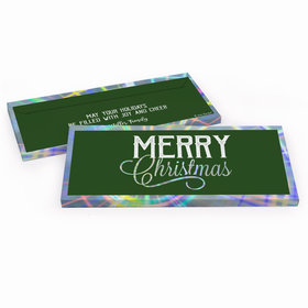 Deluxe Personalized Merry Christmas Chocolate Bar in Metallic Gift Box