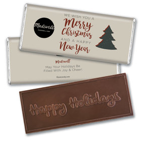 Personalized Christmas Rustic Trees with Logo Embossed Chocolate Bar & Wrapper