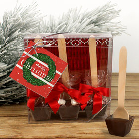 Personalized Christmas Wreath Hot Coco Hot Chocolate Spoon 3pk