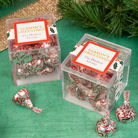 Personalized Christmas Candy Cane Poinsettia JUST CANDY® favor cube with Hershey's Kisses