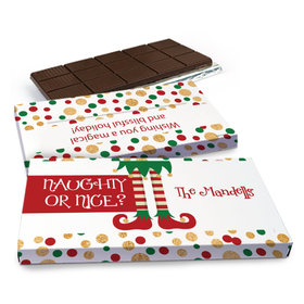 Deluxe Personalized Christmas Naughty or Nice Chocolate Bar in Gift Box (3oz Bar)