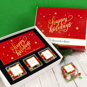 Personalized Golden Happy Holidays Add Your Logo Premium Gift Box with Lindt Milk Chocolate Bar & 3 JUST CANDY® favor cubes