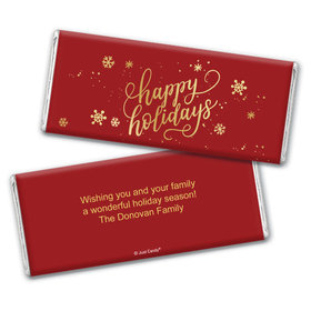 Personalized Happy Holidays Chocolate Bar & Wrapper