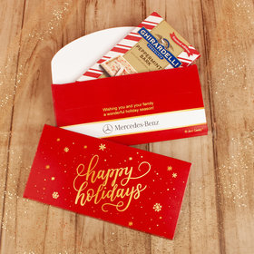 Deluxe Personalized Happy Holidays Add Your Logo Ghirardelli Chocolate Bar in Gift Box