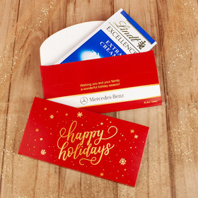 Deluxe Personalized Happy Holidays Snowflakes Lindt Chocolate Bar in Gift Box (3.5oz)