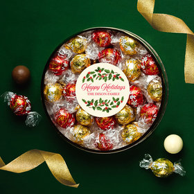Personalized Happy Holidays Large Plastic Tin with Lindt Truffles (24pcs)