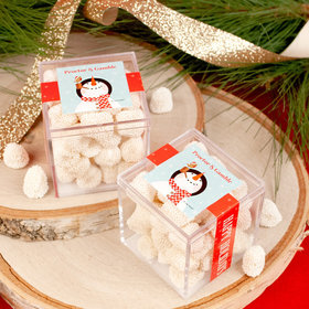 Personalized Christmas Snowy Snowman JUST CANDY® favor cube with Jelly Belly Gumdrops