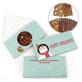 Personalized Happy Holidays Snowman Gourmet Infused Belgian Chocolate Bars (3.5oz)