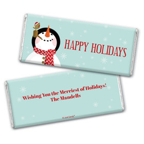 Personalized Happy Holidays Snowman Chocolate Bar & Wrapper