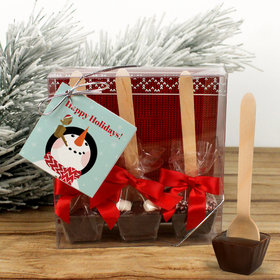 Personalized Happy Holidays Snowman Hot Cocoa Hot Chocolate Spoon 3pk