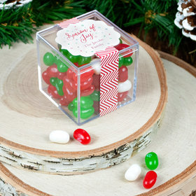 Personalized Christmas Season of Joy Season's Greeting JUST CANDY® favor cube with Jelly Belly Jelly Beans