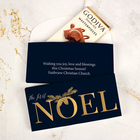 Deluxe Personalized Christmas First Noel Godiva Chocolate Bar in Gift Box