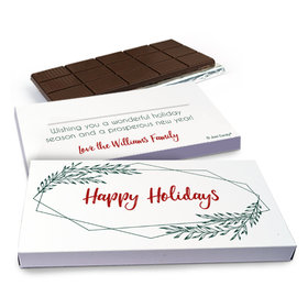 Deluxe Personalized Christmas Geometric Holiday Chocolate Bar in Gift Box (3oz Bar)