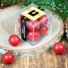 Personalized Christmas Santa Buckle JUST CANDY® favor cube with Premium Malted Milk Balls