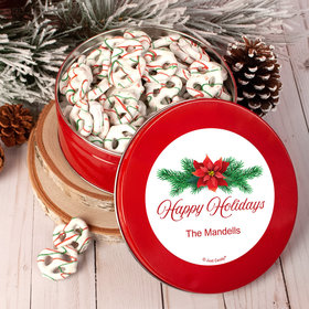 Personalized Happy Holidays Poinsettia Tin with Holiday Yogurt Pretzels (1lb approx 80 pcs)