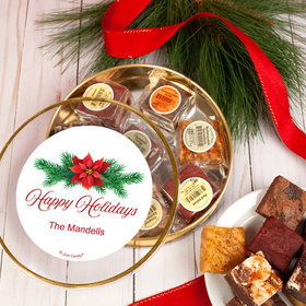 Personalized Happy Holidays Poinsettia Tin with Brownies (approx 8 pcs)