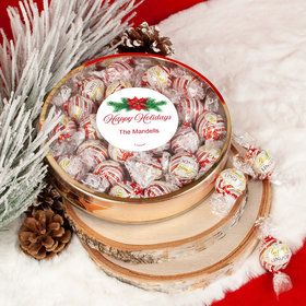 Personalized Happy Holidays Poinsettia Large Plastic Tin Lindor Peppermint Truffles by Lindt (24pcs)