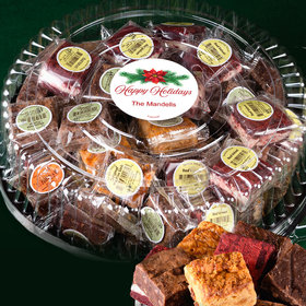 Personalized Happy Holidays Tin with Brownies (approx 48 pcs)