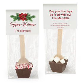 Personalized Happy Holidays Poinsettia Hot Chocolate Spoon