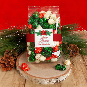 Personalized Happy Holidays Poinsettia Candy Coated Popcorn 8 oz Bags