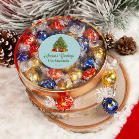 Personalized Christmas Season's Greetings Large Plastic Tin with Lindt Truffles (24pcs)