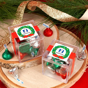 Personalized Christmas Add Your Logo Wreath JUST CANDY® favor cube with Hershey's Kisses