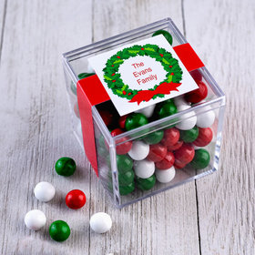 Personalized Christmas Wreath JUST CANDY® favor cube with Sixlets Chocolate