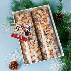 Personalized Christmas Photo Gourmet Popcorn 2pk Gift Box with Tag
