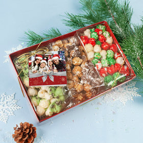 Personalized Christmas Photo Gourmet Popcorn 3pk Gift Box with Tag