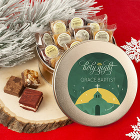 Personalized Christmas Holy Celebration Add Your Logo Tin with Brownies (approx 16 pcs)