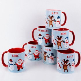 Personalized Add Your Name Christmas Buddies 11oz Red Mug