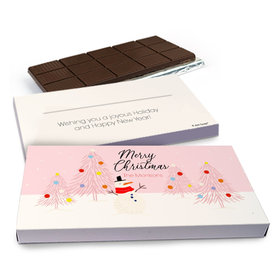 Deluxe Personalized Christmas Blush Chocolate Bar in Gift Box (3oz Bar)