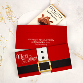 Deluxe Personalized Christmas St. Nick Godiva Chocolate Bar in Gift Box