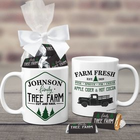 Personalized Christmas Tree Farm 11oz Coffee Mug with approx. 24 Wrapped Hershey's Miniatures