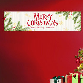 Personalized Christmas Spirited Christmas Add Your Logo 5 Ft. Banner
