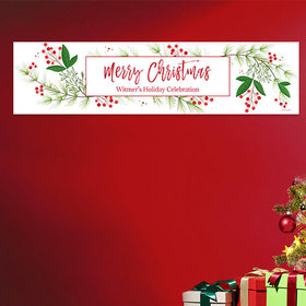 Personalized Christmas Botanical Add Your Logo 5 Ft. Banner
