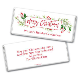 Personalized Christmas Botanicals Chocolate Bar & Wrapper