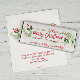 Personalized Christmas Botanicals Chocolate Bar Wrappers