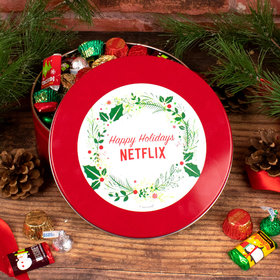 Personalized Christmas Gift Tin with Holiday Hershey Mix - Simple Holly Wreath Add Your Logo