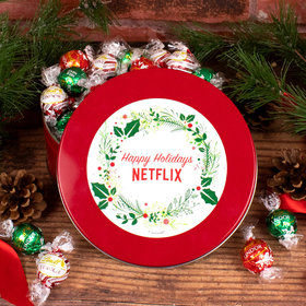 Personalized Christmas Gift Tin with Lindor Truffles by Lindt - Simple Holly Wreath Add Your Logo