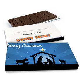 Deluxe Personalized Christmas Holy Night Nativity Chocolate Bar in Gift Box (3oz Bar)