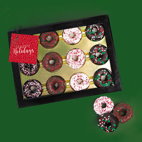 Personalized Happy Holidays Chocolate Covered Marshmallow Donuts - Box of 12