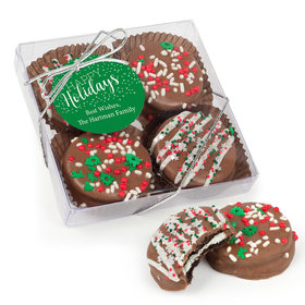 Personalized Happy Holidays Gourmet Belgian Chocolate Covered Oreos 4pc Gift Box