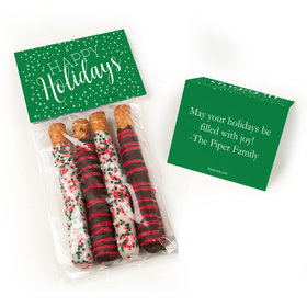 Personalized Happy Holidays Belgian Chocolate Covered Pretzel Sticks (4pcs)
