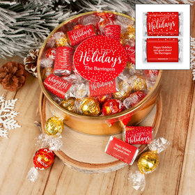 Personalized Happy Holidays Extra-Large Plastic Tin with Approx 1lb Personalized Hershey's Miniatures and Lindor Truffles by Lindt