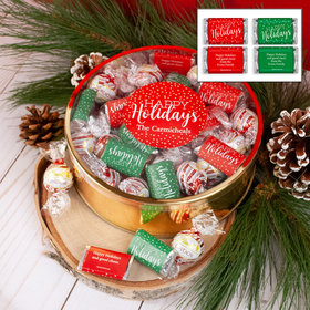 Personalized Happy Holidays XL Plastic Tin with Approx 1lb Personalized Hershey's Miniatures and Peppermint Lindor Truffles by Lindt