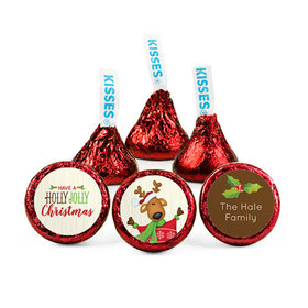 Personalized Christmas Jolly Reindeer Hershey's Kisses (50 pack)