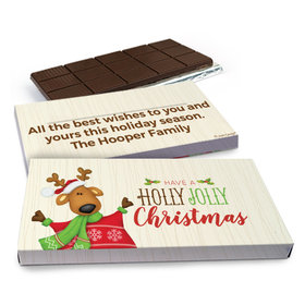 Deluxe Personalized Christmas Holly Jolly Reindeer Chocolate Bar in Gift Box (3oz Bar)