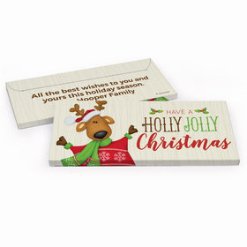 Deluxe Personalized Christmas Holly Jolly Reindeer Chocolate Bar in Gift Box